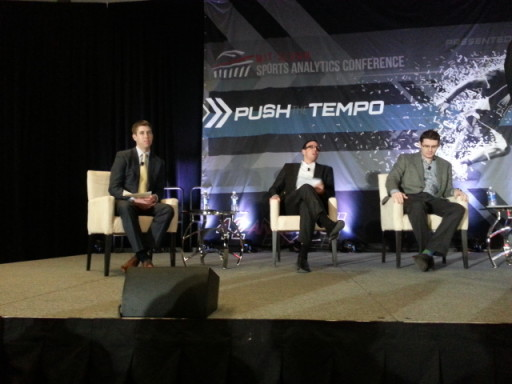 2015 SSAC Soccer Analytics Panel discussion.  L-R: Andrew Wiebe (moderator), Michael Niemeyer, Angus McNab