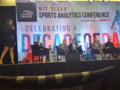Introducing the Soccer Analytics panel at 2016 MIT Sloan Sports Analytics Conference.  L-R: Student hostess, Andrew Weibe, Devin Pleuler, Chris Anderson, Paul Carr, Blake Wooster.  Not pictured: Gabriele Marcotti.